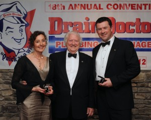 Rob (right) and Sam with Freddie Mitman at the Drain Doctor awards ceremony in Bruges.
